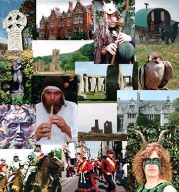 Montage of photos including green men, whistle player, stonehendge, celtic cross.